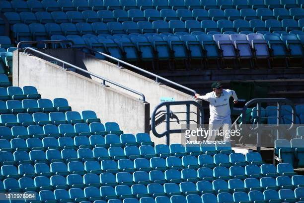 Harry Dearden of Leicestershire fields a ball from the stands during day three of the LV= Insurance County Championship match between Surrey and...