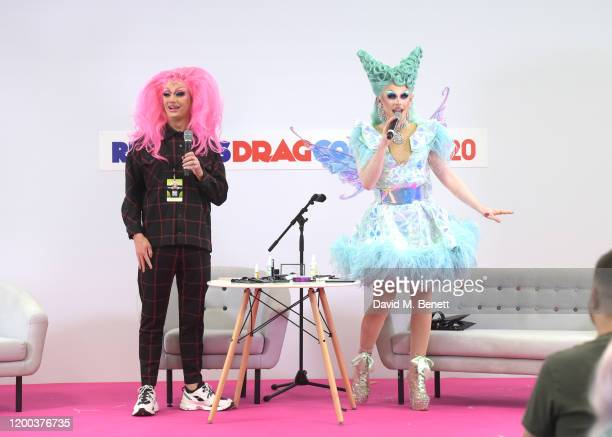 Harry Derbidge is given a drag makeover by Blu Hydrangea at RuPaul's DragCon UK presented by World Of Wonder at Olympia London on January 18, 2020 in...