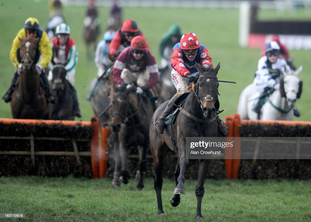 Harry Derham riding Salubrious clear the last to win The Martin Pipe Conditional Jockeys' handicap Hurdle Race during Cheltenham Gold Cup Day at Cheltenham racecourse on March 15, 2013 in Cheltenham, England.