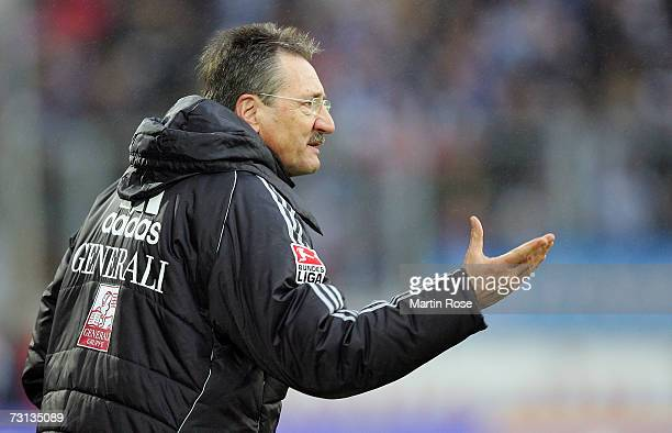 Harry Deutinger head coach of Unterhaching gives instructions during the Second Bundesliga match between MSV Duisburg and Spvgg Unterhaching at the...