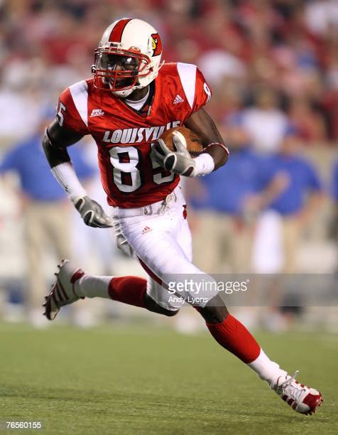 Harry Douglas of Louisville runs with the ball after a reception during the game against Middle Tennessee on September 6 2007 at Papa John's Cardinal...