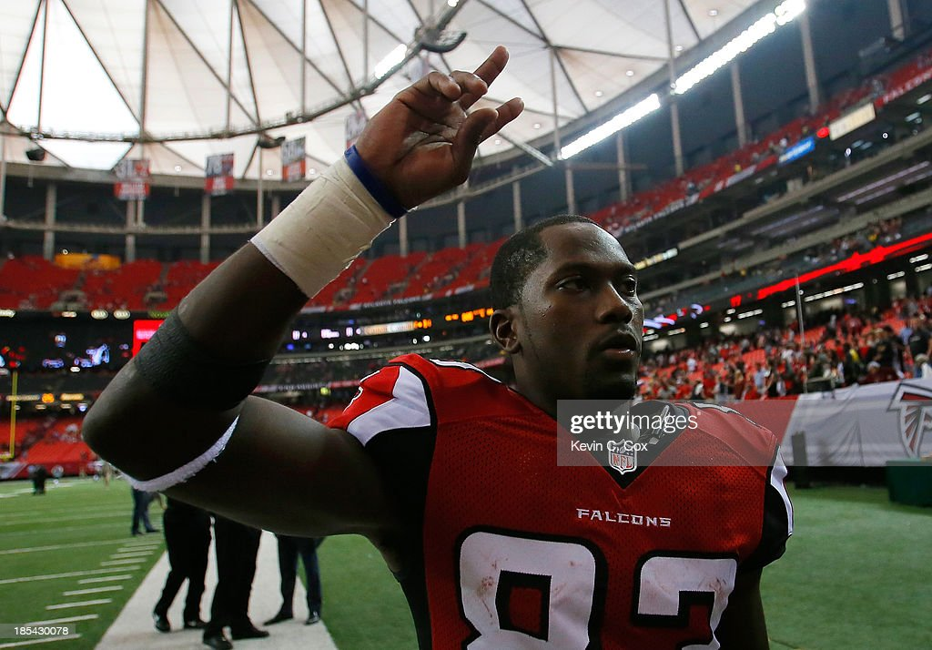 Harry Douglas #83 of the Atlanta Falcons reacts after their 31-23 win over the Tampa Bay Buccaneers at Georgia Dome on October 20, 2013 in Atlanta, Georgia.