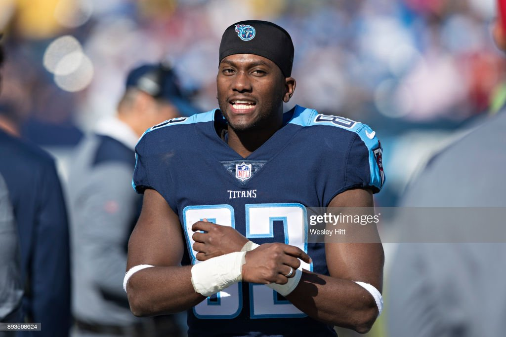 Harry Douglas #83 of the Tennessee Titans on the sidelines before a game against the Houston Texans at Nissan Stadium on December 3, 2017 in Nashville, Tennessee. The Titans defeated the Texans 23-14.
