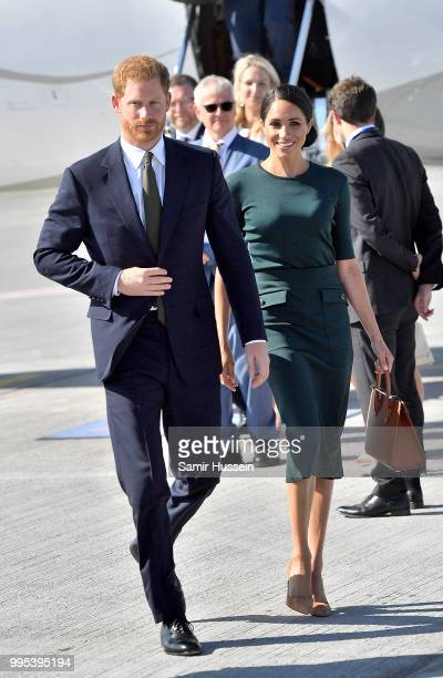 Harry Duke of Sussex and Meghan Duchess of Sussex arrive at Dublin Airport for their visit to Ireland on July 10 2018 in UNSPECIFIED Ireland