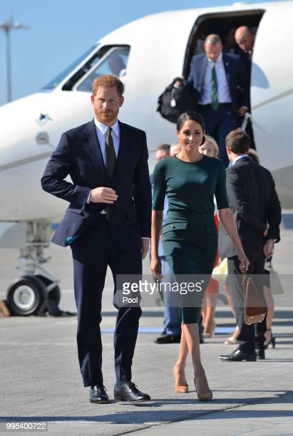 Harry Duke of Sussex and Meghan Duchess of Sussex arrive at Dublin city airport on their official two day royal visit to Ireland on July 10 2018 in...