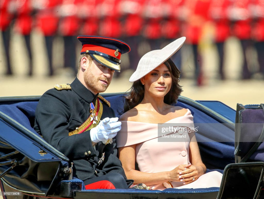 Harry Duke of Sussex and Meghan Duchess of Sussex attend Trooping The Colour 2018 at The Royal Horseguards on June 9, 2018 in London, England.