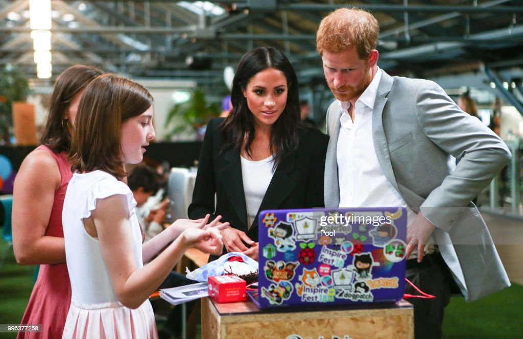 Harry, Duke of Sussex and Meghan, Duchess of Sussex visit the Dogpatch startup hub in Dublin on the final day of their trip to Ireland on July 11, 2018 in Dublin, Ireland.