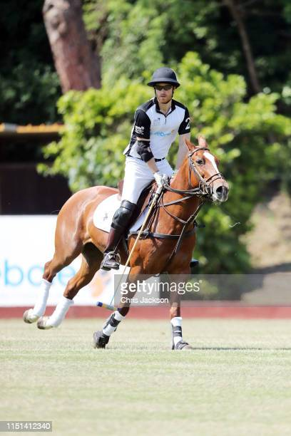 Harry Duke of Sussex of Team Sentebale St Regis rides during the Sentebale ISPS Handa Polo Cup at Roma Polo Club on May 24 2019 in Rome Italy This is...