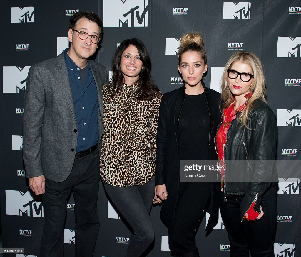 Harry Elfont, Scout Durwood, Jessica Rothe and Deborah Kaplan attend 'The Struggle Is Real: Gender, Race, Entrepreneurship And The Women Of MTV' during the 12th Annual New York Television Festival at SVA Theater on October 27, 2016 in New York City.