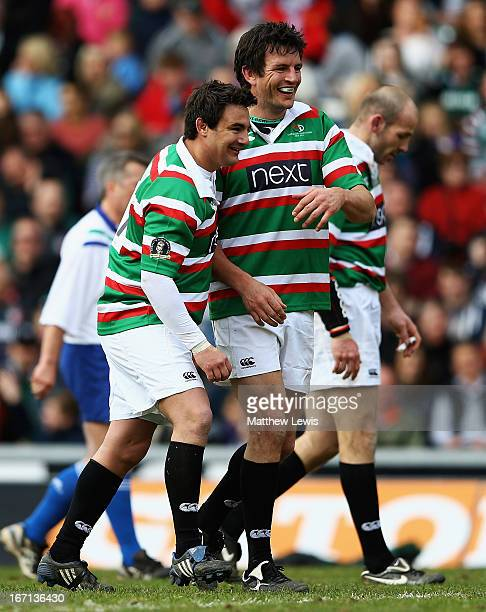 Harry Ellis and Martin Corry of Louis Deacon's Tigers look on during the Leicester Tigers Legends Match between Louis Deacon's Tigers and Matt...