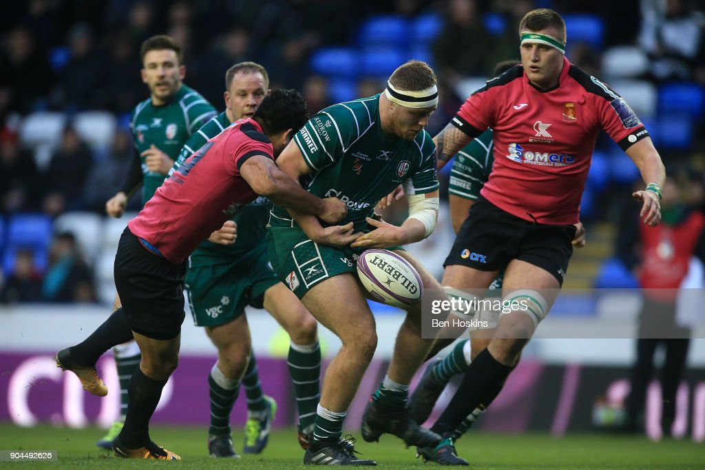 Harry Elrington of London Irish drops the ball as he is tackled during the European Rugby Challenge Cup between London Irish and Krasny Yar on January 13, 2018 in Reading, United Kingdom.