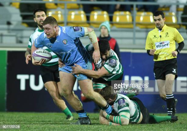 Harry Elrington of London Irish is tackled during the European Rugby Challenge Cup match between Krasny Yar and London Irish at Avchala Stadium on...