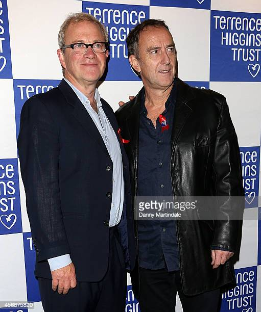 Harry Enfield and Angus Deayton attends The Terrance Higgins Supper Club at Underglobe on October 8 2014 in London England