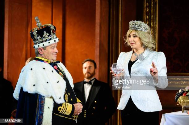 """Harry Enfield as Prince Charles, and Tracy-Ann Oberman as Camilla during dress rehearsals of the play """"The Windsors: Endgame"""" at Prince Of Wales..."""