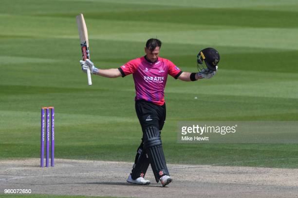 Harry Finch of Sussex acknowledges the applause after reaching his century during the Royal London OneDay Cup match between Sussex and Hampshire at...