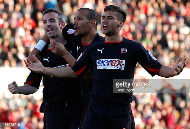 Harry Forrester of Brentford celebrates after team-mate Kevin O'Connor scored the equalising penalty during the npower League One Play Off Semi Final...