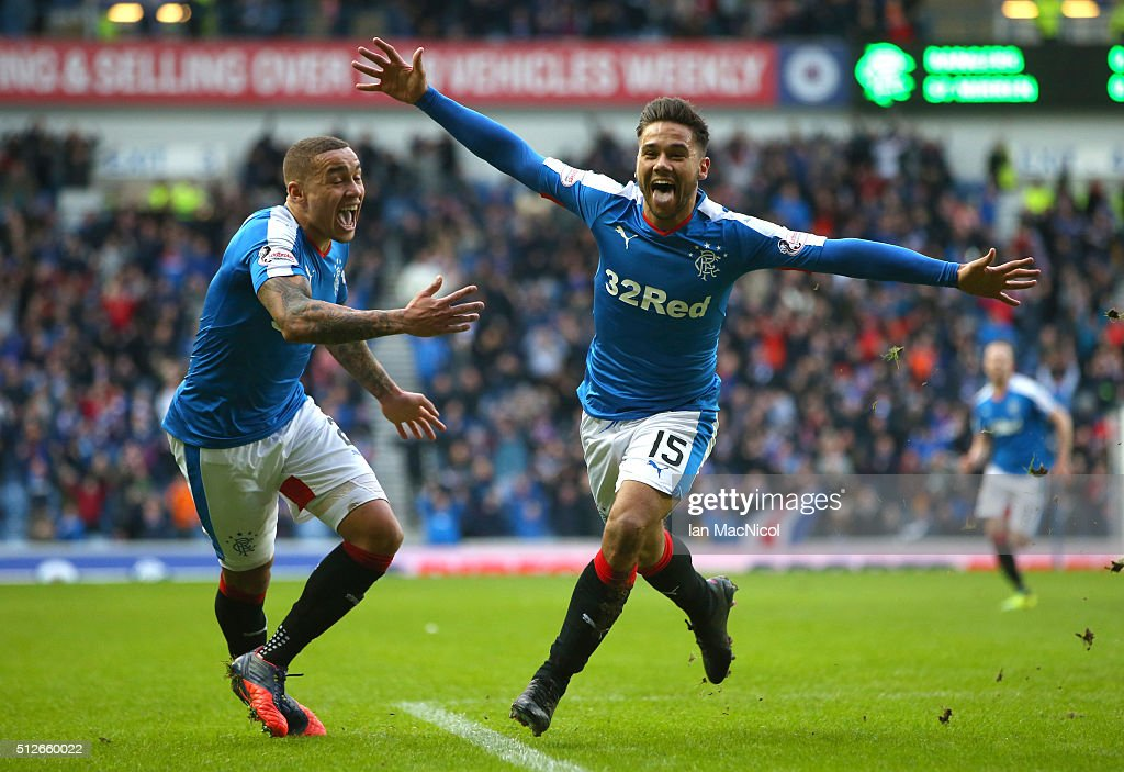 Harry Forrester of Rangers celebrates scoring during the Scottish Championships match between Rangers and St. Mirren at Ibrox Stadium on February 27, 2016 in Glasgow, Scotland.