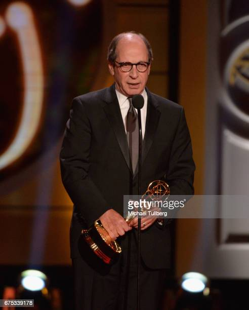 """Harry Friedman accepts the award for outstanding game show for """"Jeopardy"""" at the 44th annual Daytime Emmy Awards at Pasadena Civic Auditorium on..."""
