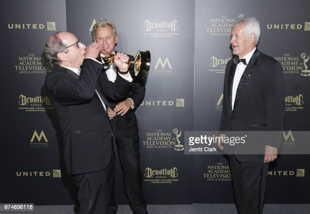 Harry Friedman, Pat Sajak and Alex Trebek attend the 44th Annual Daytime Creative Arts Emmy Awards - Press Room at Pasadena Civic Auditorium on April...