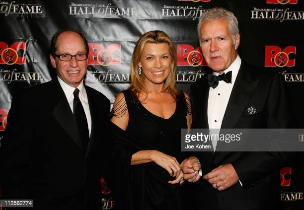 Harry Friedman Vanna White and Alex Trebek arrive at the 17th Annual Broadcasting and Cable Hall of Fame Awards Dinner on October 22 2007