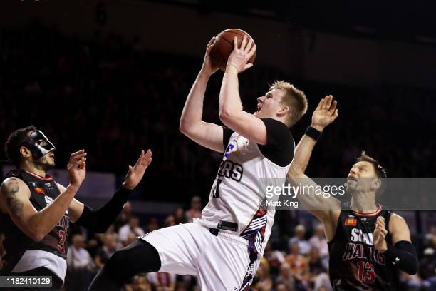 Harry Froling of the 36ers drives to the basket during the round three NBL match between the Illawarra Hawks and the Adelaide 36ers at Wollongong...