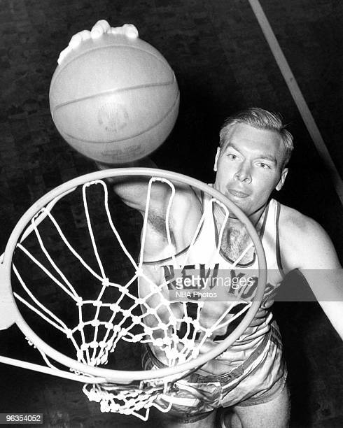 Harry Gallatin of the New York Knicks poses for a mock action portrait in 1950 in New York New York NOTE TO USER User expressly acknowledges and...