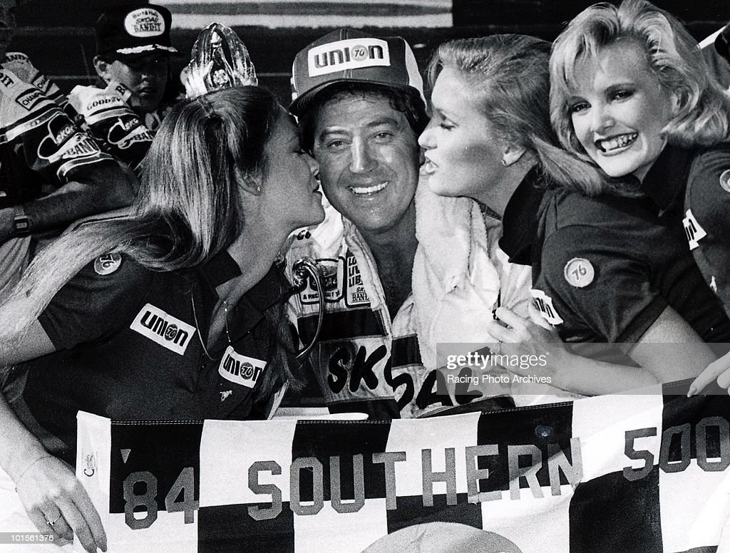 Harry Gant celebrates in Victory Lane after winning the Southern 500. Gant would take home $46,180 for the win.