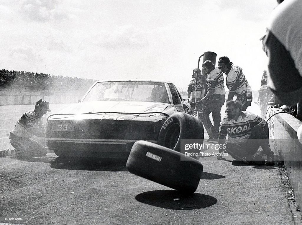 Harry Gant takes his final pit stop before going on to win the Like Cola 500. Gant would take home $34,605 for the win.