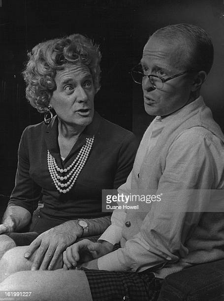 NOV 9 1965 NOV 18 1965 NOV 21 1965 Harry Geldard masquerading as a woman and Ralph Dowling as Mr Mole are pictured in a scene from Love's a Luxury a...