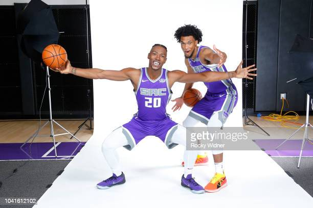 Harry Giles and Marvin Bagley III of the Sacramento Kings pose for a portrait at media day on September 24 2018 at the Golden 1 Center in Sacramento...