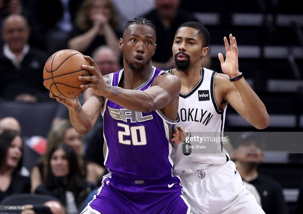 ef48d38eaa45 Harry Giles III of the Sacramento Kings is guarded by Spencer ...