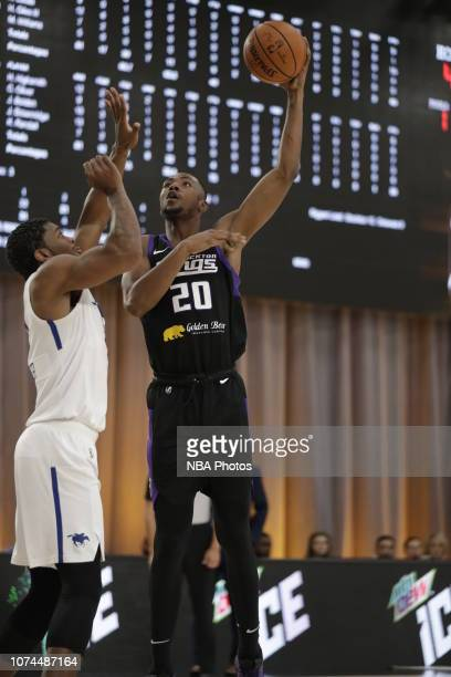 Harry Giles III of the Stockton Kings shoots the ball against the Delaware Blue Coats during the NBA G League Winter Showcase on December 20 2018 at...