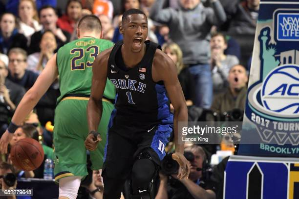 Harry Giles of the Duke Blue Devils reacts against the Notre Dame Fighting Irish during the ACC Basketball Tournament Championship game at Barclays...