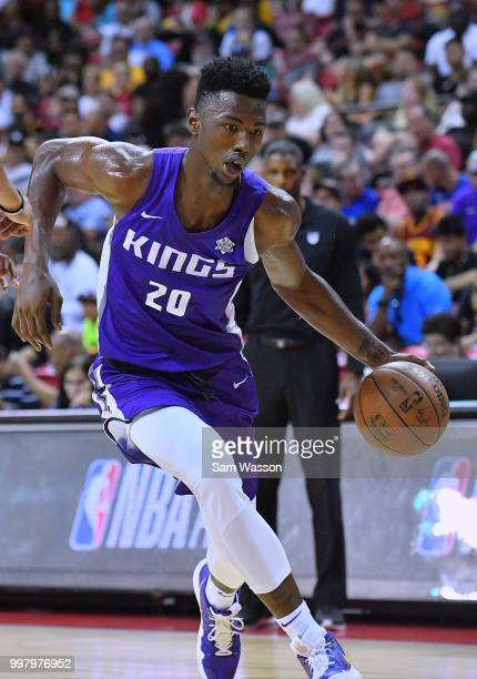 Harry Giles of the Sacramento Kings drives against the Memphis Grizzlies during the 2018 NBA Summer League at the Thomas Mack Center on July 10 2018...