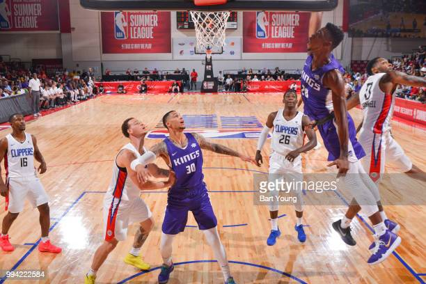 Harry Giles of the Sacramento Kings dunks the ball against the LA Clippers during the 2018 Las Vegas Summer League on July 8 2018 at the Cox Pavilion...