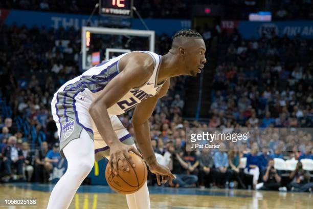 Harry Giles of the Sacramento Kings during the second half of a NBA game at the Chesapeake Energy Arena on October 21 2018 in Oklahoma City Oklahoma...