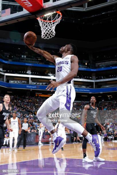 Harry Giles of the Sacramento Kings goes to the basket against the Miami Heat during the 2018 Summer League at the Golden 1 Center on July 5 2018 in...