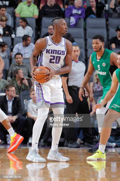 Harry Giles of the Sacramento Kings handles the ball against Maccabi Haifa on October 8 2018 at Golden 1 Center in Sacramento California NOTE TO USER...