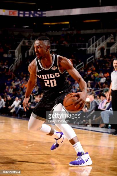 Harry Giles of the Sacramento Kings handles the ball against the Phoenix Suns on December 4 2018 at Talking Stick Resort Arena in Phoenix Arizona...