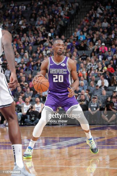 Harry Giles of the Sacramento Kings handles the ball against the Brooklyn Nets on March 19 2019 at Golden 1 Center in Sacramento California NOTE TO...