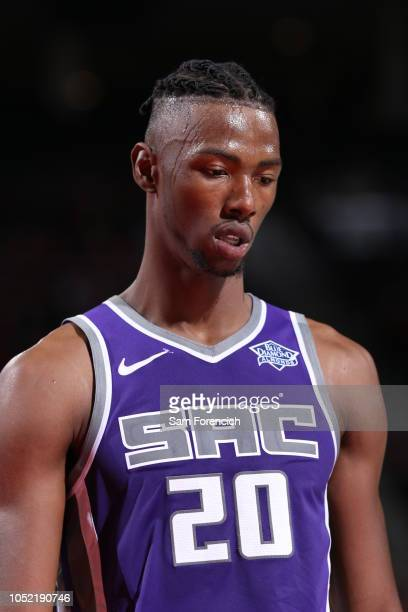 Harry Giles of the Sacramento Kings looks on against the Portland Trail Blazers on October 12 2018 at the Moda Center Arena in Portland Oregon NOTE...