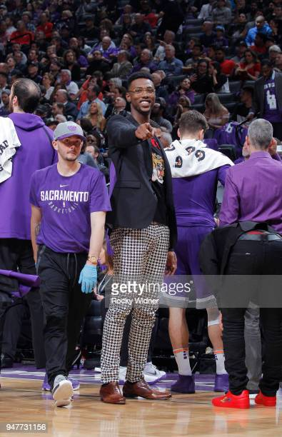 Harry Giles of the Sacramento Kings looks on during the game against the Houston Rockets on April 11 2018 at Golden 1 Center in Sacramento California...