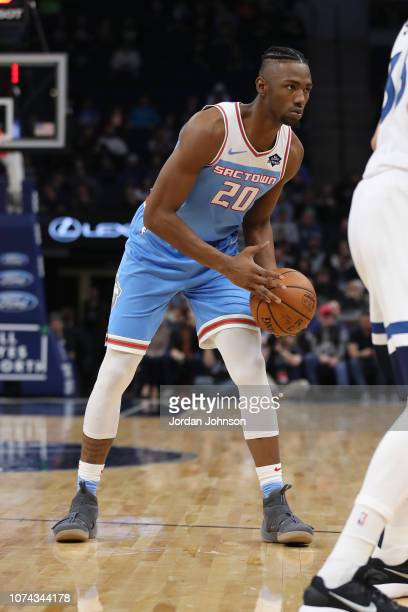 Harry Giles of the Sacramento Kings passes the ball during the game against the Minnesota Timberwolves on December 17 2018 at Target Center in...