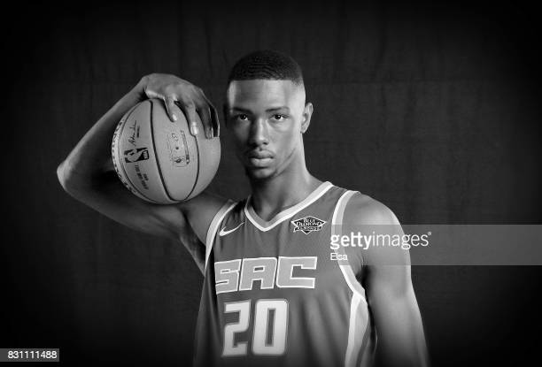 Harry Giles of the Sacramento Kings poses for a portrait during the 2017 NBA Rookie Photo Shoot at MSG Training Center on August 11 2017 in...