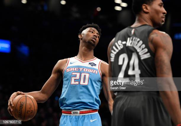 Harry Giles of the Sacramento Kings reacts after a call during the third quarter of the game against the SBrooklyn Nets at Barclays Center on January...