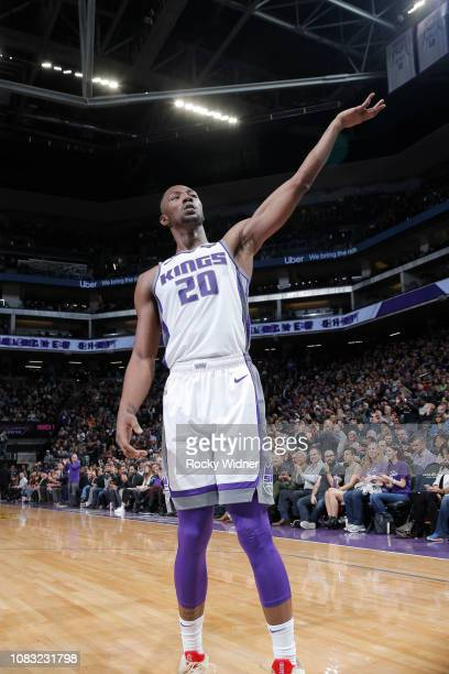 Harry Giles of the Sacramento Kings reacts during the game against the Detroit Pistons on January 10 2019 at Golden 1 Center in Sacramento California...