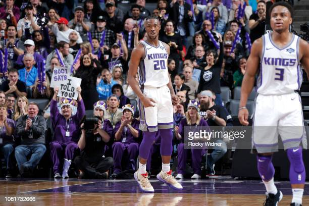 Harry Giles of the Sacramento Kings reacts to a play during the game against the Charlotte Hornets on January 12 2019 at Golden 1 Center in...