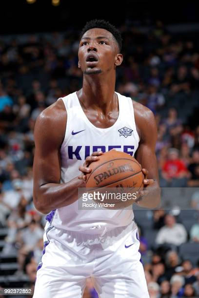 Harry Giles of the Sacramento Kings shoots a free throw against the Miami Heat during the 2018 Summer League at the Golden 1 Center on July 5 2018 in...