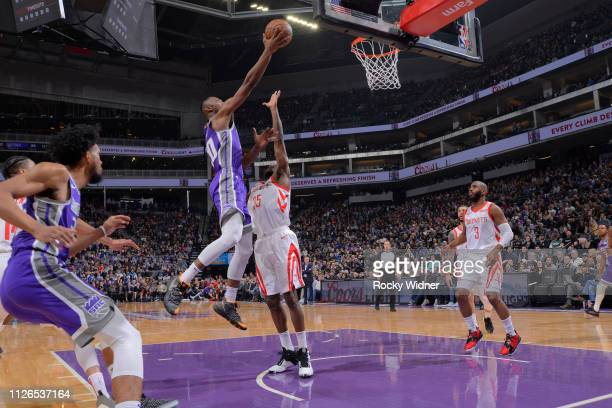 Harry Giles of the Sacramento Kings shoots a layup against the Houston Rockets on February 6 2019 at Golden 1 Center in Sacramento California NOTE TO...