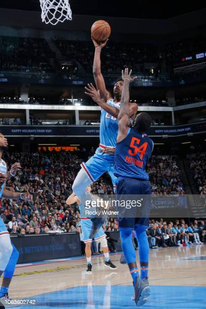Harry Giles of the Sacramento Kings shoots the ball against the Oklahoma City Thunder on November 19 2018 at Golden 1 Center in Sacramento California...